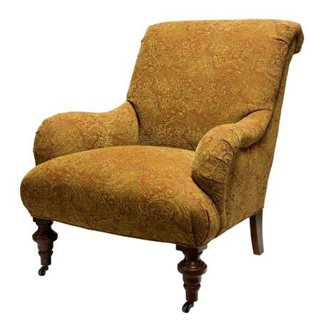Traditional Style Accent Chair in Gold Fabric