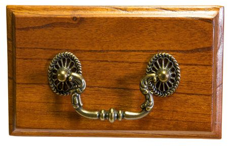 Oak Drawer Front with Antique Brass Drawer Pull