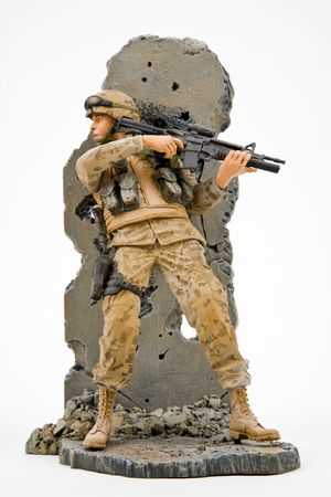 solider: US Army Solider Figurine In Battle Action
