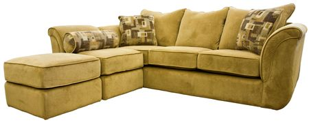 Tan Micro Fiber Sectional Sofa Group with Ottoman    Stock Photo