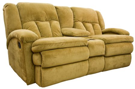 recliner: Micro Fiber Double Reclining Loveseat with Cup Holders Stock Photo