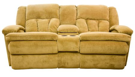 Micro Fiber Double Reclining Loveseat with Cup Holders Stock Photo