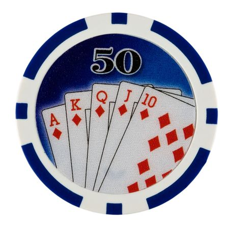 Fifty Dollar Casino Poker Chip with Royal Flush Stock Photo
