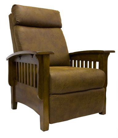 Oak Wood Mission Style Leather Reclining Chair