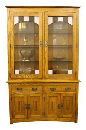 Solid Oak Mission Style China Cabinet in Light Finish