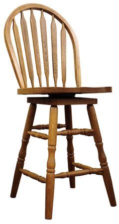 stool: Solid Oak Country Bar Stool in Medium Finish Stock Photo