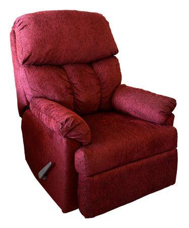 Plush Rocking Reclining Chair in a Burgundy Fabric