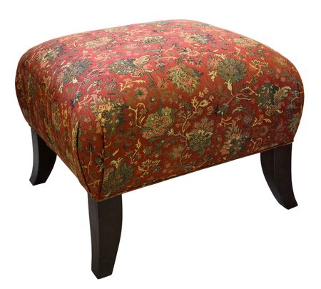 Traditional Style Ottoman with Cherry Wood Legs