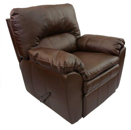 recliner: Brown Overstuffed Rocker Recliner in Top Grain Leather Stock Photo