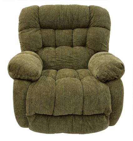 recliner: Big and Plush Rocker Recliner in Sage Acrylic Fabric Stock Photo