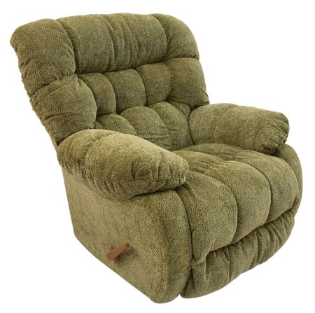 Big and Plush Rocker Recliner in Sage Acrylic Fabric Stock Photo