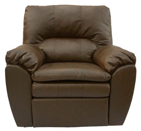 Brown Overstuffed Rocker Recliner in Top Grain Leather Stock Photo