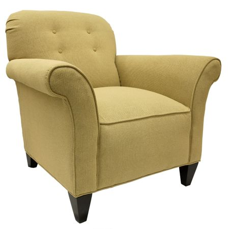 Transitional Style Occasional Accent Chair with Dark Maple Legs Stock Photo