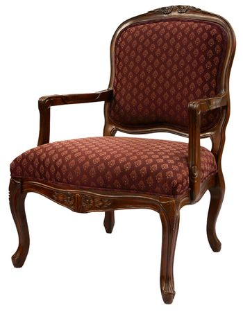 Traditional Style Accent Chair in Burgundy Fabric