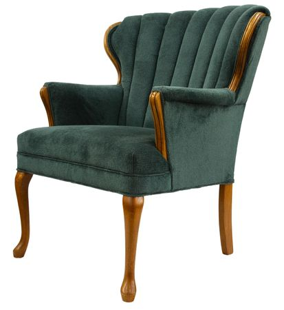 Traditional  Style Accent Chair with Oak Trim