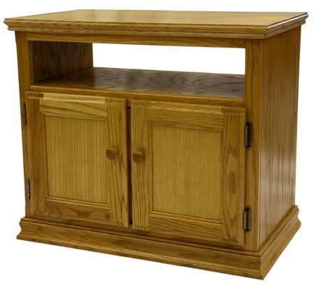 Country Style Oak TV Stand in Golden Oak Finish Stock Photo