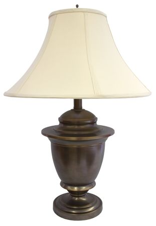 lamp shade: Antique Brass Table Lamp with Off White Shade