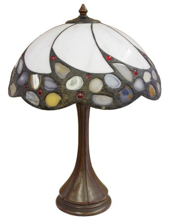 Tiffany Glass Table Lamp with Agate Stone Accents