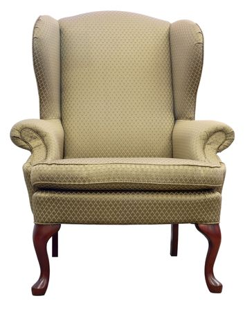 Queen Anne Style Wing Chair with Cherry Wood Legs photo