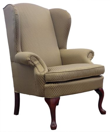 anne: Queen Anne Style Wing Chair with Cherry Wood Legs