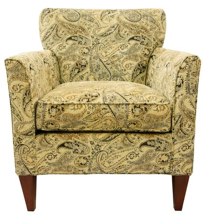 transitional: Contemporary Accent Chair in Paisley Fabric Pattern  Stock Photo