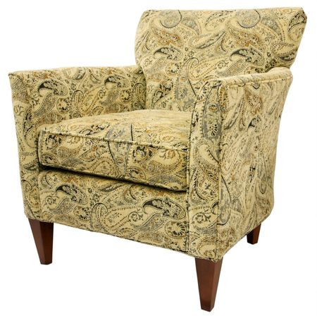 Contemporary Accent Chair in Paisley Fabric Pattern  Stock Photo