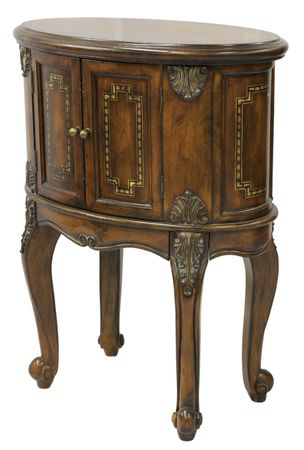 home accents: Queen Anne Accent End Table in Distressed Dark Finish