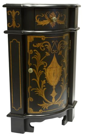 home accents: Corner Accent Table in Black and Gold Finish