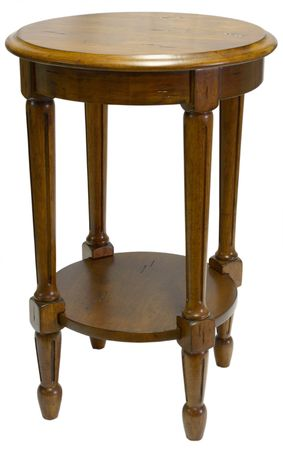 Round Dark Oak Accent Table with Distressed Finish