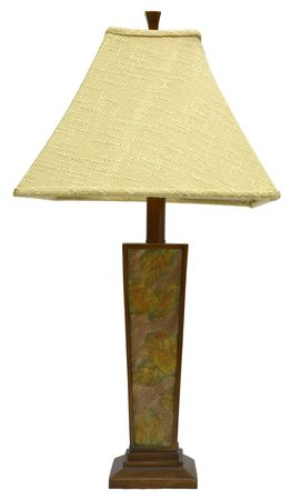 lamp shade: Wood Table Lamp with Floral Design and Tweed Shade