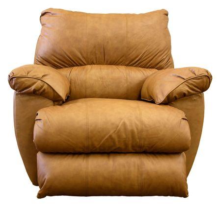comfortable: Large Comfortable Overstuffed  Brown Leather Rocker Recliner