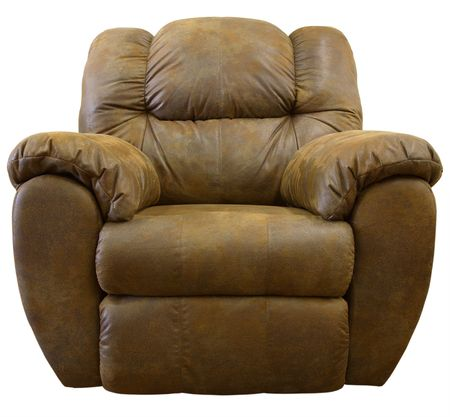 recliner: Large Comfortable Overstuffed  Brown Leather Rocker Recliner