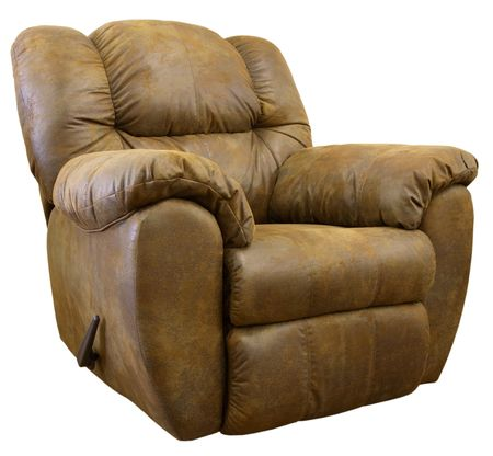 recliner: Large Comfortable Overstuffed  Brown Leather Rocker Recliner