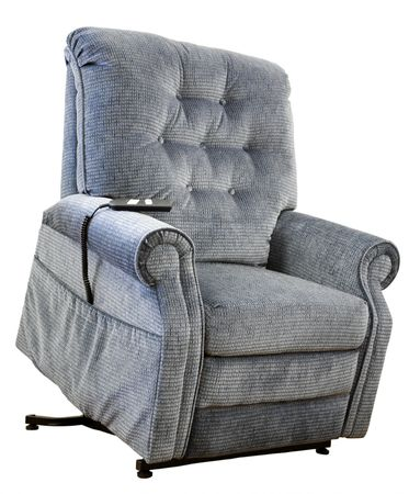 recliner: Contemporary Lift Chair with Recliner in Blue Tweed Fabric  Stock Photo