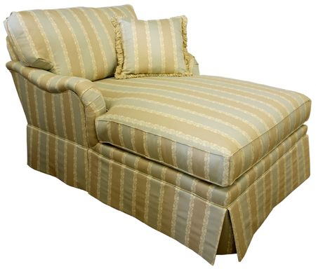 Stock Photo   Traditional Skirted Style Chaise Lounge Overstuffed Sofa