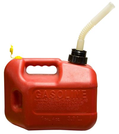 Red One Gallon Gasoline Container with Spout  Stock Photo