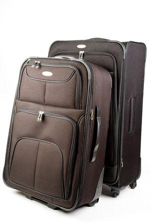 Black Set of Luggage Suitcase On Wheels Stock Photo