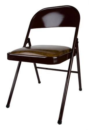 upholstered: Brown Metal Folding Chair with Upholstered Seat