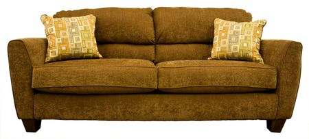 davenport: Contemporary Living Room Sofa with Colorful Throw Pillows  Stock Photo