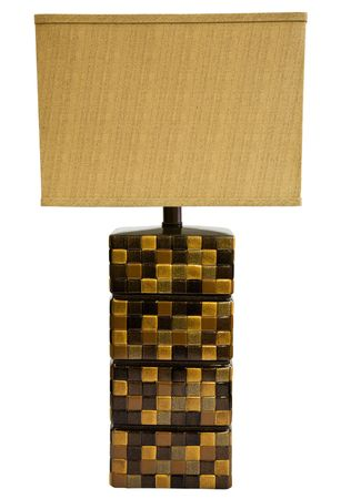 lamp shade: Contemporary Table Lamp and Shade with Textured Tiles Stock Photo