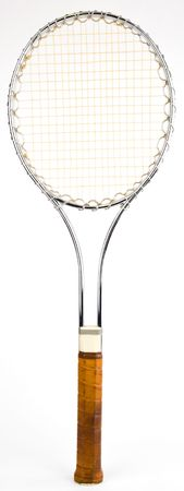 grip: Steel Vintage Tennis Racquet with Leather Grip Stock Photo