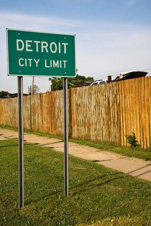 city limit: Detroit City Limit Sign and Auto Junkyard.