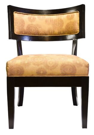 room accent: Contemporary Cherry Wood Accent Living Room Chair with Gold Fabric