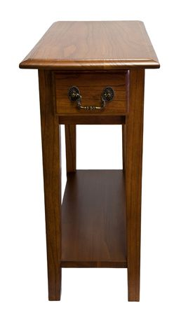 home accents: Solid Oak Accent Chair Side End Table Stock Photo