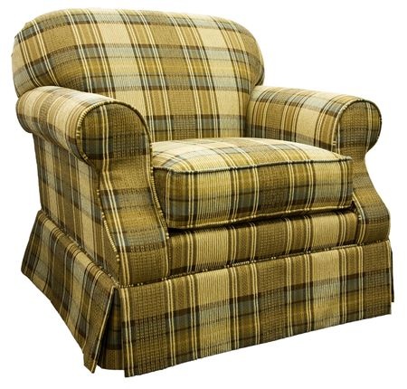 traditional living room: Plaid Traditional Living Room Chair with Skirt