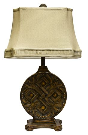 lamp shade: Ornate Oak Carved Table Lamp with Shade