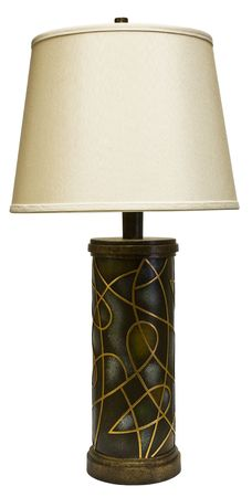 cor: Contemporary Style Table Lamp with White Shade Stock Photo