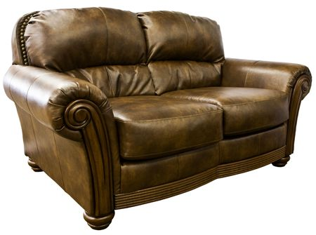 Top Grain Leather Loveseat Sofa with Nail Head Trim Stock Photo