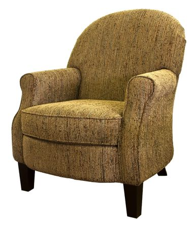 cor: Transitional Style Accent Living Room Chair In Tweed Fabric Stock Photo