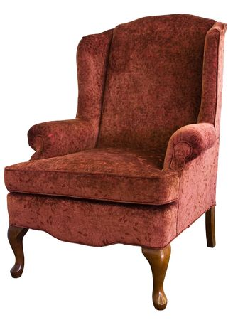 anne: Queen Anne Wing Chair In Velvet Floral Fabric Stock Photo